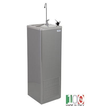 River 55 A Free Standing Ambient Water Fountain with Bubbler and Glass Filler Steel Grey