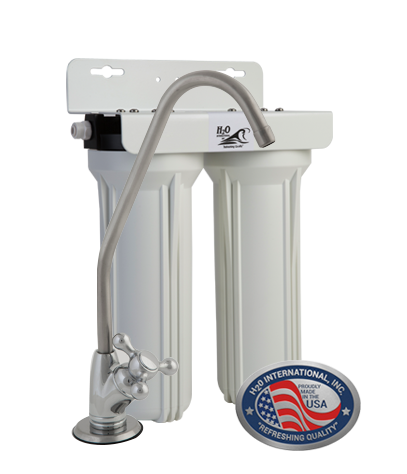 "Double 10""  Replaceable Cartridge Undersink Purifier with Sediment Filter and GAC/KDF Cartridge"