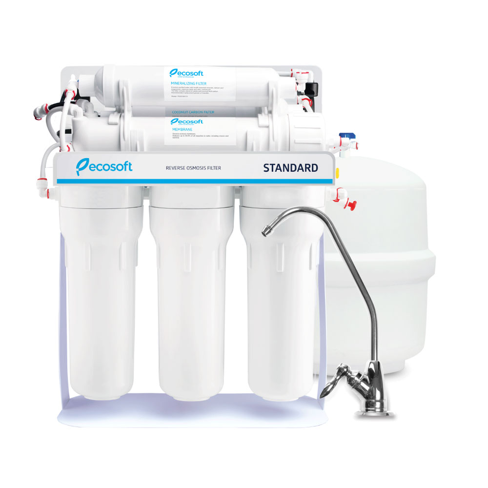 Ecosoft Standard Reverse Osmosis System 6 Stage – 50PD with mineralization on metal rack